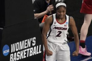 ASSOCIATED PRESS                                 Arizona's Aari McDonald reacts after making a basket during the second half against Indiana in the Elite Eight.