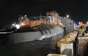 COURTESY U.S. NAVY                                 The Los Angeles-class, fast-attack submarine USS Charlotte was undocked from Dry Dock 3 at Pearl Harbor Naval Shipyard on Jan. 26.