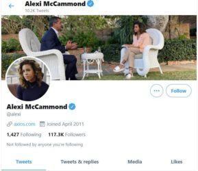 TWITTER                                 A screenshot of the Twitter account of Alexi McCammond, seen today.