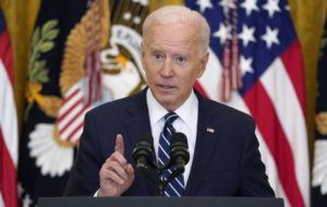ASSOCIATED PRESS                                 President Joe Biden spoke during a news conference in the East Room of the White House, today, in Washington.