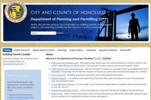 CITY AND COUNTY OF HONOLULU                                 A screenshot of the website of Honolulu's Department of Planning and Permitting, seen March 31.