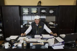 NEW YORK TIMES / 2013                                 Les Miles, then the football coach at Louisiana State University, inside his office on campus in Baton Rouge, La.