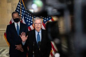 NEW YORK TIMES                                 Senate Minority Leader Mitch McConnell (R-Ky.) speaks during a press conference following a luncheon for Senate Republicans on Capitol Hill in Washington today.