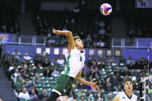 ANDREW LEE / 2020                                 Hawaii's Chaz Galloway, shown in a game against Queen's at the Stan Sheriff Center, put away all eight of his kill attempts in a road sweep of UC Santa Barbara today.