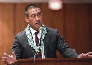 STAR-ADVERTISER                                 Kauai Mayor Derek S.K. Kawakami joined other neighbor island mayors in going before state lawmakers to explain their legislative requests, in Jan. 2020.
