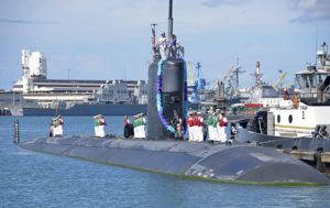 COURTESY U.S. NAVY                                 The Los Angeles-class fast attack submarine USS Charlotte (SSN 766) returns to Joint Base Pearl Harbor-Hickam from a six-month deployment to the western Pacific in 2013.