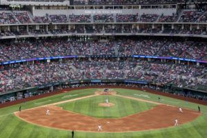 ASSOCIATED PRESS                                 Fans fill the stands at Globe Life Field during the second inning of a baseball game between the Texas Rangers and the Toronto Blue Jays today in Arlington, Texas.