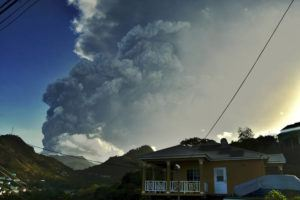 ASSOCIATED PRESS                                 Ash rises into the air as La Soufriere volcano erupts on the eastern Caribbean island of St. Vincent today.
