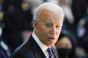 """ASSOCIATED PRESS                                 President Joe Biden speaks during a ceremony to honor slain U.S. Capitol Police officer William """"Billy"""" Evans as he lies in honor at the Capitol in Washington today."""