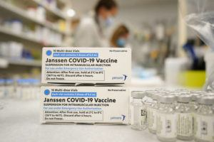 ASSOCIATED PRESS                                 Boxes stand next vials of Johnson & Johnson COVID-19 vaccine in the pharmacy of National Jewish Hospital for distribution in Denver in March. U.S. health officials are weighing next steps as they investigate unusual blood clots in a small number of people given the vaccine — a one-dose shot that many countries hoped would help speed protection against the pandemic.