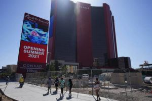 ASSOCIATED PRESS                                 Construction continues on Resorts World Las Vegas today in Las Vegas. The hotel-casino announced today that it will open June 24.