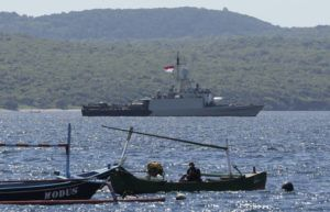 ASSOCIATED PRESS                                 Indonesian Navy ship KRI Singa sailed to take part in the search for submarine KRI Nanggala that went missing while participating in a training exercise on Wednesday, off Banyuwangi, East Java, Indonesia, Thursday. Indonesia's navy ships are intensely searching the waters where one of its submarines was last detected before it disappeared, as neighboring countries are set to join the complex operation.