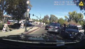 CONTRA COSTA SHERIFF VIA AP / 2018                                 This image from body-worn camera video shows Contra Costa County sheriff's Deputy Andrew Hall with his gun pointed into a car driven by Laudemar Arboleda in Danville, Calif.