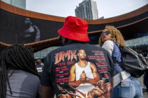 """ASSOCIATED PRESS                                 People gather for a """"Celebration of Life Memorial"""" for rapper DMX at Barclays Center, Saturday, in the Brooklyn borough of New York. DMX, whose birth name is Earl Simmons, died April 9 after suffering a """"catastrophic cardiac arrest."""""""