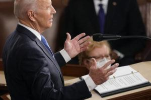 ASSOCIATED PRESS                                 President Joe Biden speaks to a joint session of Congress in the House Chamber at the U.S. Capitol in Washington.