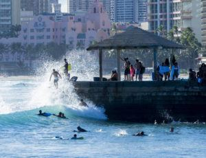 STAR-ADVERTISER / 2020                                 With high surf, Waikiki was packed with surfers, boogie boarders and sunbathers.