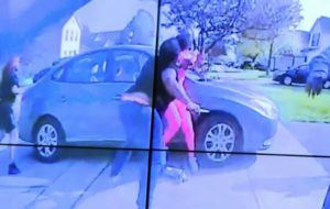 COLUMBUS POLICE DEPARTMENT VIA WSYX-TV VIA AP                                 In an image from police bodycam video that the Columbus Police Department played during a news conference tonight, a teenage girl, foreground, appears to wield a knife during an altercation before being shot by a police officer.