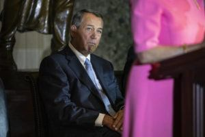 NEW YORK TIMES / 2019                                 Former Speaker of the House John Boehner (R-Ohio) during the unveiling of his official portrait at the Capitol in Washington.