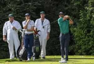 NEW YORK TIMES / 2020                                 Tiger Woods tees off during a practice round at the Masters golf tournament in Augusta, Ga.