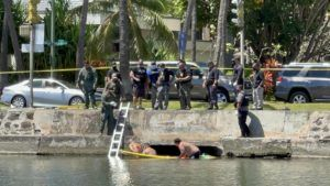 ROSEMARIE BERNARDO / RBERNARDO@STARDVERTISER.COM                                 Honolulu Police Department officers apprehend a man who evaded capture for hours by hiding in a box culvert at the Ala Wai Canal today.