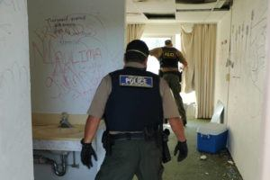 COURTESY DLNR                                 Officers from the Department of Land and Natural Resources' Division of Conservation and Resources Enforcement, Hawaii County Police Department and the Sheriffs Division went through the Hilo hotel's 146 rooms and found evidence of squatters.