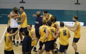 JAMM AQUINO / JAQUINO@STARADVERTISER.COM                                 The UC Santa Barbara Gauchos celebrated after winning the Big West tournament.