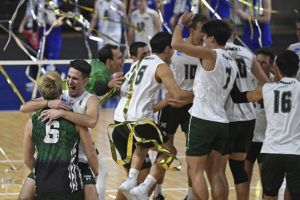 ASSOCIATED PRESS                                 Hawaii's Spyros Chakas (back) and Gage Worsley (6) celebrate after Hawaii defeated BYU in the final of the NCAA men's volleyball tournament today in Columbus, Ohio.