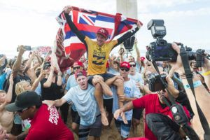 COURTESY WSL                                 John John Florence of Hawaii is carried up the beach after winning his semifinal of the 2017 Billabong Pipe Masters in celebration of becoming a two-time World Champion. Florence dreamed of winning a World Title in Hawaii and that dream became a reality when he backed up his 2016 World Title which he won in Portugal with the 2017 World Title in Hawaii.