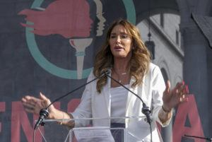 ASSOCIATED PRESS / 2020                                 Caitlyn Jenner speaks at the fourth Women's March in Los Angeles.