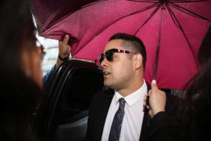 DARREN PATEMAN/AAP IMAGE VIA ASSOCIATED PRESS                                 Former football player Jarryd Hayne arrived at court in Newcastle, Australia, Thursday. Hayne, a rugby league star who also played in the NFL for the San Francisco 49ers, was sentenced to at least three years and eight months in jail for the sexual assault of a woman in 2018.