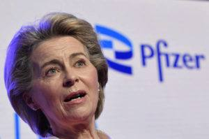 POOL VIA AP                                 European Commission President Ursula von der Leyen makes a statement during an official visit to the Pfizer pharmaceutical company in Puurs, Belgium, on April 23.