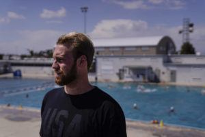 ASSOCIATED PRESS                                 Water polo player Marko Vavic pauses for photos at MWR Aquatic Training Center in Los Alamitos, Calif.