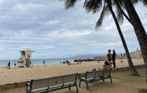 DIANE LEE / DLEE@STARADVERTISER.COM                                 The sky was overcast at Kaimana Beach in Waikiki today.