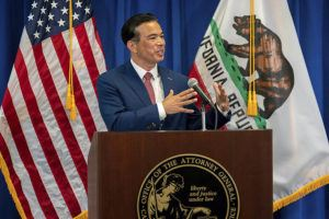 PAUL KITAGAKI JR./THE SACRAMENTO BEE VIA AP / APRIL 23                                 Attorney General Rob Bonta speaks after he was sworn in as California's 34th Attorney General in Sacramento, Calif. Bonta, 49, is the first Filipino American to head the California Department of Justice.