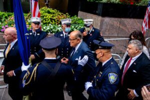 NEW YORK TIMES / 2020                                 Rudy Giuliani arrives at a memorial service in New York marking the 19th anniversary of the 9/11 terror attacks.