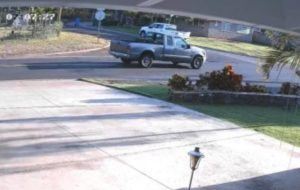 HONOLULU POLICE DEPARTMENT                                 A screenshot from surveillance video shows the pickup truck suspected in a critical hit-and-run in Ewa Beach on April 25.