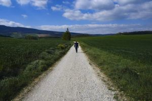 """ASSOCIATED PRESS / APRIL 14                                 Martim Thomas, 41, from Switzerland, walks along a path during a stage of """"Camino de Santiago"""" or St. James Way near Pamplona, northern Spain."""