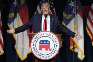 ASSOCIATED PRESS                                 Former President Donald Trump speaks at the North Carolina Republican Convention in Greenville, N.C., on Saturday.