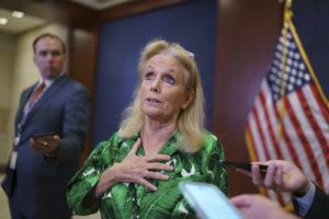 ASSOCIATED PRESS                                 Rep. Debbie Dingell, D-Mich., paused for reporters after a meeting of the House Democratic Caucus, today, at the Capitol in Washington. Dingell, who has sponsored several PFAS-related bills in the House, said she has looked for PFAS in her own makeup and lipstick, but could not see if they were present because the products were not properly labeled.