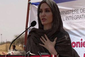 ASSOCIATED PRESS In this image taken from video, Special Envoy to the United Nations High Commissioner for Refugees Angelie Jolie speaks at the Malian refugee camp in Goudebo, Burkina Faso, Sunday, to mark World Refugee day.