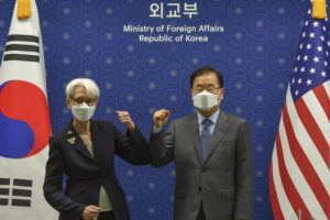 POOL PHOTO VIA AP                                 U.S. Deputy Secretary of State Wendy Sherman bumps elbows with South Korean Foreign Minister Chung Eui-yong prior to their meeting at Foreign Ministry in Seoul, South Korea.