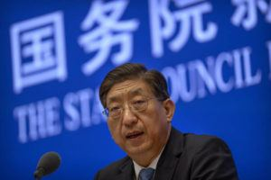 ASSOCIATED PRESS                                 Zeng Yixin, Vice Minister of China's National Health Commission, speaks at a press conference at the State Council Information Office in Beijing.