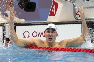 ASSOCIATED PRESS                                 Chase Kalisz, of the United States, celebrates after winning the final of the men's 400-meter individual medley at the 2020 Summer Olympics in Tokyo, Japan.