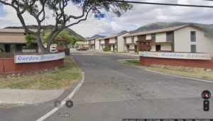 GOOGLE MAPS                                 The Garden Groves townhouse complex at 87-1550 Farrington Highway. The Honolulu Medical Examiner's Office has identified the 39-year-old pedestrian who died after a sedan struck her in Nanakuli fronting the complex on Monday as Candace A.L. Lopes of Waianae.