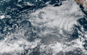 COURTESY NOAA                                 A satellite image at 10:40 a.m. today shows Tropical Depression Felicia and remnant low Guillermo in relation to the Hawaiian Islands.