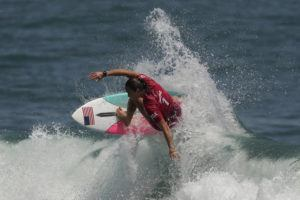 ASSOCIATED PRESS                                 Carissa Moore, of the United States, competes during the first round of the women's surfing competition at the 2020 Summer Olympics.