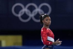 ASSOCIATED PRESS                                 Simone Biles, of the United States, waits to perform on the vault during the women's final at the 2020 Summer Olympics on Tuesday.