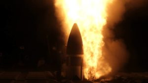 COURTESY MISSILE DEFENSE AGENCY / 2020                                 An SM-3 Block IIA missile is launched from the USS John Finn, an Aegis Ballistic Missile Defense System-equipped destroyer.