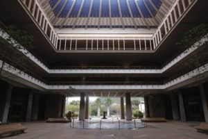 STAR-ADVERTISER                                 The Hawaii State Capitol rotunda was empty in March 2020.
