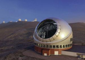 COURTESY NATIONAL ASTRONOMICAL OBSERVATORY OF JAPAN                                 A 2014 artist's rendering shows the proposed Thirty Meter Telescope against a backdrop of other Mauna Kea telescopes.